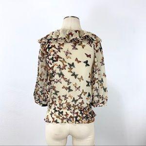 Ted Baker London Tops - Ted Baker- Cream Multi Butterfly Print Blouse